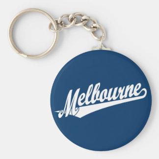 Melbourne script logo in white basic round button key ring