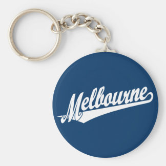 Melbourne script logo in white key ring