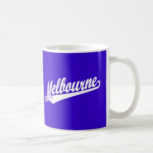 Melbourne script logo in white mugs