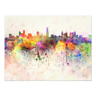Melbourne skyline in watercolor background photo