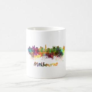 Melbourne skyline in watercolor coffee mug