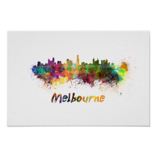 Melbourne skyline in watercolor poster