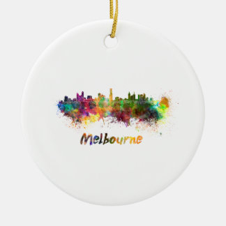 Melbourne skyline in watercolor round ceramic decoration