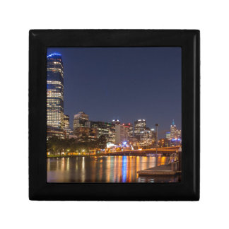 Melbourne' Yarra River at night Small Square Gift Box