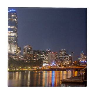 Melbourne' Yarra River at night Small Square Tile