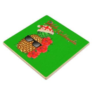 Mele Kalikimaka Christmas Pineapple Wood Coaster