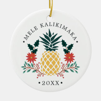 Mele Kalikimaka | Hawaiian Christmas Photo Ceramic Ornament