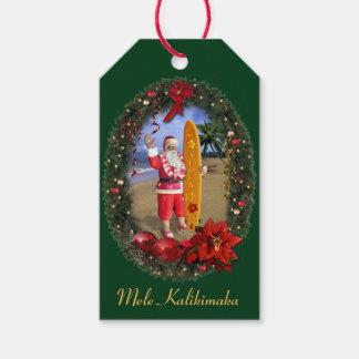 Mele Kalikimaka Hawaiian Santa Gift Tags