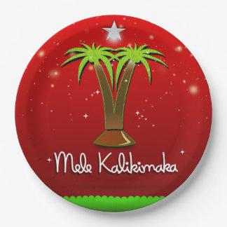Mele Kalikimaka Palm Tree for Xmas Paper Plate
