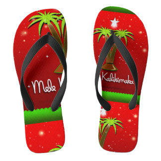 Mele Kalikimaka Palm Tree for Xmas Thongs