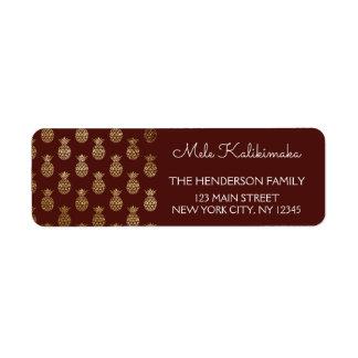 Mele Kalikimaka Pineapple Christmas Holiday Return Address Label