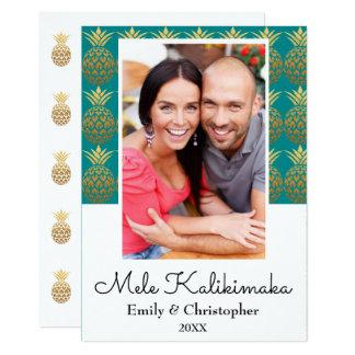 Mele Kalikimaka Pineapple Christmas Photo Card