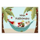 Mele Kalikimaka Tropical Santa Card