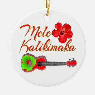Mele Kalikimaka Ukulele Ceramic Ornament