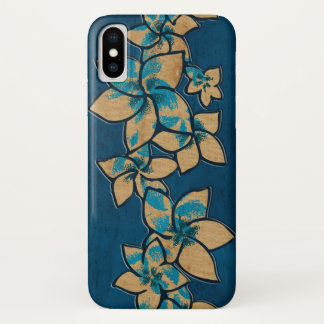 Melia Hawaiian Plumeria Faux Wood Blue iPhone X Case