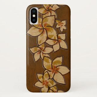 Melia Hawaiian Plumeria Faux Wood iPhone X Case