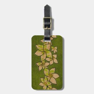 Melia Hawaiian Plumeria Faux Wood Luggage Tags
