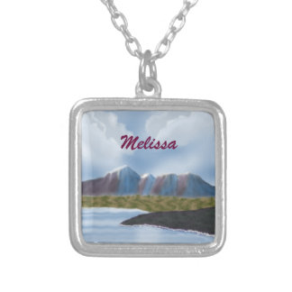 Melissa_Digital Painting Mountains Necklace