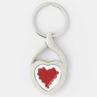 Melissa. Red heart wax seal with name Melissa Key Ring