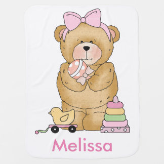 Melissa's Teddy Bear Personalized Gifts Baby Blanket