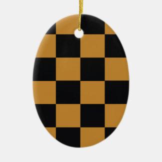 Mellow Mustard Checkerboard Ceramic Ornament