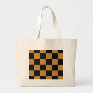 Mellow Mustard Checkerboard Large Tote Bag