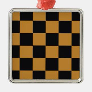 Mellow Mustard Checkerboard Metal Ornament