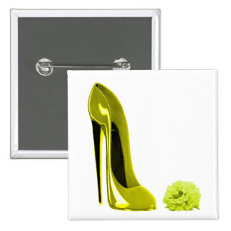 Mellow Yellow Stiletto Shoe and Rose Pins