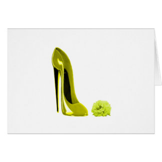 Mellow Yellow Stiletto Shoe and Rose Greeting Card