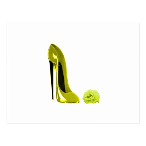 Mellow Yellow Stiletto Shoe and Rose Postcards