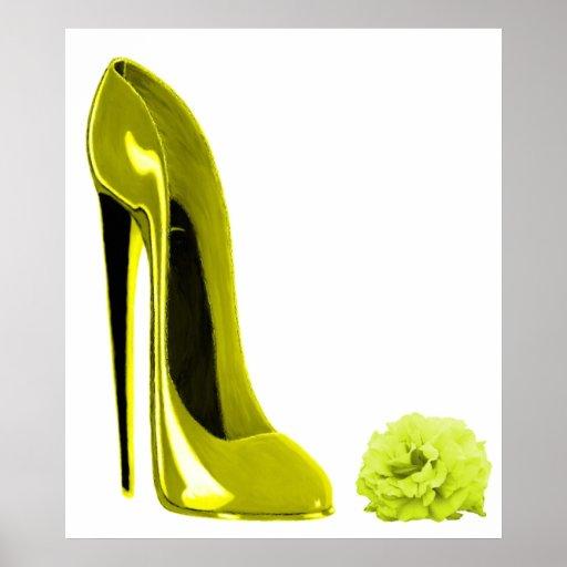 Mellow Yellow Stiletto Shoe and Rose Print