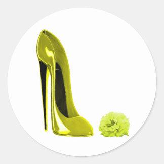 Mellow Yellow Stiletto Shoe and Rose Round Sticker