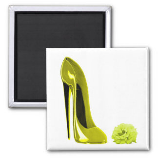 Mellow Yellow Stiletto Shoe and Rose Square Magnet