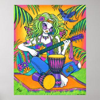 """Melody"" Rainbow Guitar Hippie Fairy Poster"