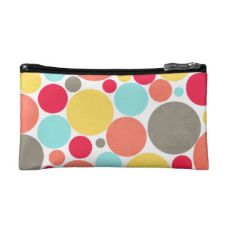 Melon, Blue, Yellow, Pink, Gray Polka Dotted Bag Cosmetic Bags