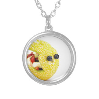 Melon Easter bunny filled with summer fruit Silver Plated Necklace