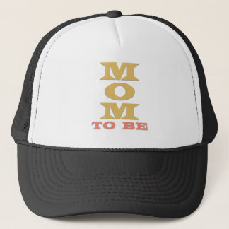 Melon/Gold Text Mom to Be Trucker Hat