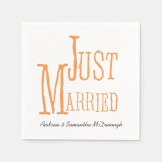 Melon Just Married Personalized Paper Napkins Disposable Napkin