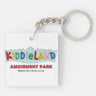 Melrose Park Kiddieland Amusement Park, Illinois Double-Sided Square Acrylic Key Ring