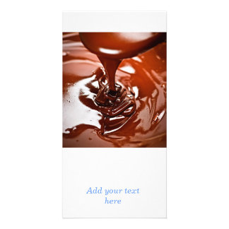 Melted chocolate and spoon personalized photo card
