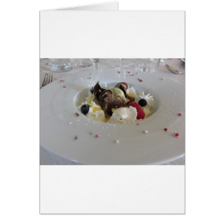 Melted chocolate ball with zabaglione cream card