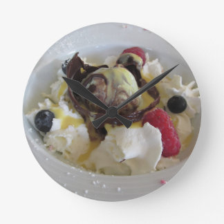 Melted chocolate ball with zabaglione cream clock
