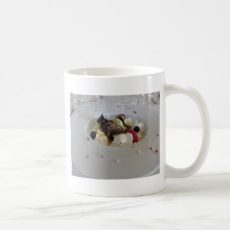 Melted chocolate ball with zabaglione cream coffee mug