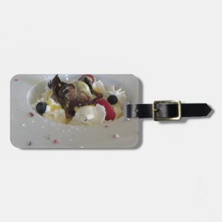 Melted chocolate ball with zabaglione cream luggage tag