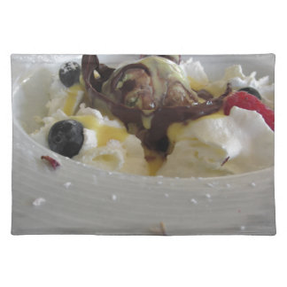 Melted chocolate ball with zabaglione cream placemat