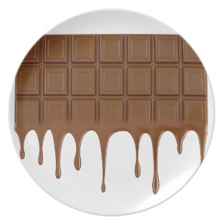 Melted chocolate bar plate