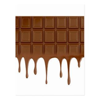 Melted chocolate bar postcard