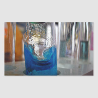 Melted glass vessel with solution rectangular stickers