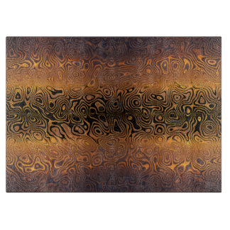 Melted Tiger - Black and Bronze Abstract Cutting Board