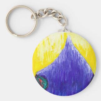 Melting Blue Pope (religious surrealism) Basic Round Button Key Ring